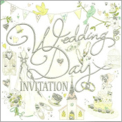 Pack Of 6 Simon Elvin Wedding Day Invitations - Pastel Collage Design - DP215N