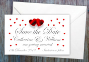 50 Personalised Save the Date Magnets. Love Hearts Wedding Magnets. Professional E-draught and Envelopes are Included.