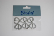 6 x Diamante effect Heart Ribbon Slider / Buckle for Crafting, Card Making or Wedding Invitations