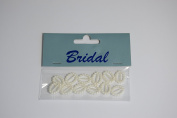 12 x Ivory Pearl effect Oval Ribbon Slider / Buckle for Crafting, Card Making or Wedding Invitations