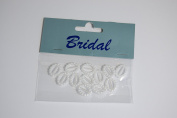 12 x White Pearl effect Oval Ribbon Slider / Buckle for Crafting, Card Making or Wedding Invitations