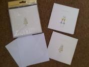 10 x Sparkly Luxury Wedding Invitation Cards Cake & Glasses Design Glitter Border