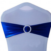 JuneJour 1Pc Elastic Chair Sash Band Bow with Ring Buckle for Wedding Reception Party Decoration Royal Blue