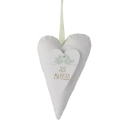 Heaven Sends Hanging White Fabric Just Married Heart Decoration (12 x 7cm)