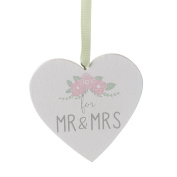 Heaven Sends Heart Shaped Mr & Mrs Hanging Decoration (7 x 7 x 0.5cm)
