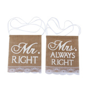 DWE Chair Sign Bunting, Mr Right & Mrs Always Right Pattern Rustic Banner Wedding Party Decoration