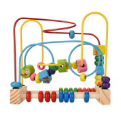 Mumustar Toddlers Kid Colourful Wooden Abacus Bead Maze Cube Wire Roller Activity Toy Educational Play Learning Fun Toy