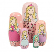 Winterworm® Set of 5 Cutie Lovely Pink Angel Nesting Dolls Matryoshka Madness Russian Doll Popular Handmade Kids Girl Gifts Toy