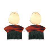 Sixcup 1PCS Women Leopard Print Bohemian Fashion Weave Tassel Earrings Long Drop Earrings Jewellery