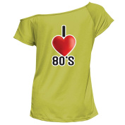 YTHH Fashion Ladies I Love The 80s T-Shirt 1980's Fancy Dress Party Festival Costume Outfit