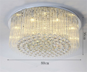 DELLT- Living Room Round Crystal Ceiling Lamp LED Crystal Ceiling Lamp Atmospheric Modern Minimalist Lighting