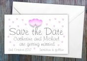 30 Personalised Save the Date Magnets. Love Hearts Wedding Magnets. Magnetic Save the Date Cards with Envelopes.