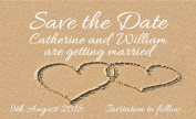 40 SAVE THE DATE MAGNETS. Hearts in the Sand Wedding Magnets - Personalised for You - Envelopes Are Included