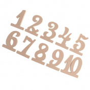 MagiDeal Rustic Wooden MDF 1-10 Wedding Table Numbers Set Event Decor Freestanding