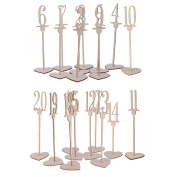Sharplace 1-20 Vintage Wooden Table Numbers Heart Base Freestanding for Wedding Party Home Table Decoration