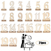 WER 20pcs 1-20 Wooden Wedding Table Number Holders Decoration with Gift Cake Insert