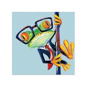 Pu Ran Unframed Modern Fashion Frog Wearing Suit Glasses Wall Art Decorative Painting - 50cm x 50cm