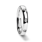 ISABELLA Domed White Tungsten Wedding Band with 3 Diamonds - 4 mm