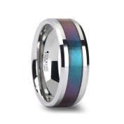 STINGRAY Tungsten Carbide Ring with Blue/Purple Colour Changing Inlay - 8mm