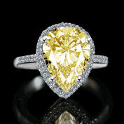 Diamond Veneer - 4 ct.Classic pear centre settings ring, simulated diamond
