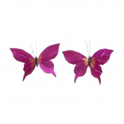 S & W Bridal C5077BG | Painted Butterflies | 13cm | Pack of 12 | Burgundy