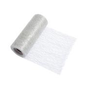 S & W Bridal R422MTSL | Mesh Tulle | 10m x 15cm | Metallic Silver | Polyester