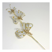 S & W Bridal B1894PLAT | Butterfly | Glitter Sequin | Pack of 3 | Platinum