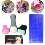 DANCINGNAL 5PCS Nail Art Stamping Kit Stencil Stamper Design Stamping Image Template Plate Set