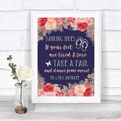 Navy Blue Blush Rose Gold Dancing Shoes Flip Flops Personalised Wedding Sign Print