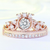Crown Ring, Coxeer Womens Crystal Ring Sparkly Rhinestone Crown Rings Finger Ring for Valentines Day Gifts