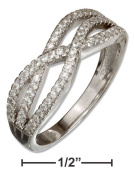 STERLING SILVER TRIPLE MICRO PAVE CUBIC ZIRCONIA WAVE RING