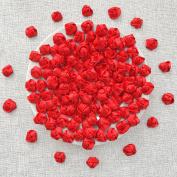 Red 25mm Felt Backed Satin Ribbon Rose Flowers Decorative Flatback Craft Flowers