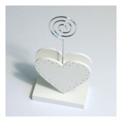 S & W Bridal B1901WHSL | Name Card Holder | Double Heart | White/Silver