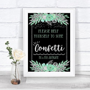 Black Mint Green & Silver Take Some Confetti Personalised Wedding Sign Print