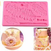 VAK Feather Texture Embossed Moulds,Silicone Cake Lace Mat Mould, Fondant Cake Decorating Tools,Cake Border Decoration Embossed Moulds,Pastry Chocolate Baking Moulds, Bakeware Sheet Kitchen Supplies