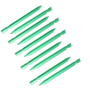 Unique Bargains 10pcs 18cm Length Aluminium Alloy Tri-Beam Tent Stakes Green for Camping Hiking