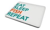 Eat, Sleep, Fish, Repeat, Mouse Mat, Cool Text Design, Good Quality, 230mm x 180mm x 5mm.