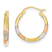 14k Yellow Gold Tri Colour Polished & Satin 2mm D/C Hinged Hoop Earrings 7mm