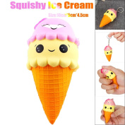 Cute Ice Cream Squishy Toy, Indexp Kids Simulation Elastic Anti Stress Relief Cream Scented Slow Rising Squeeze Keychain Fun Gift for ADHD