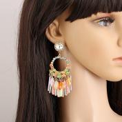 Fashion Big Ring Hand Tassel Earrings Crystal Wrapped Earrings