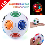 Prevently Brand Creative Funny New LED Light Stress Reliever Rainbow Magic Ball Night Cube Twist Puzzle Toys