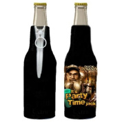 Duck Dynasty Black It's Party Time Jack Bottle Koozie Insulator with Zipper NEW