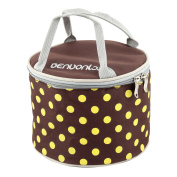 Outdoor Oxford Fabric Dots Pattern Cylinder Insulated Food Box Cooler Lunch Ice Bag