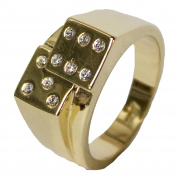 Men's 18 Kt Gold Plated Dress Ring Dice with CZ 071