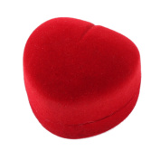 Red Flannel Coated Heart Shaped Wedding Jewellery Gift Ring Holder Case Box