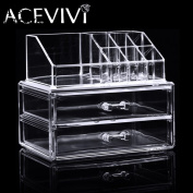 Makeup Cosmetics Organiser Clear Acrylic 2 Drawer 8 Grid Display Jewellery Box Storage Tabletop Lipstick Holder