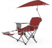 SKLZ Sport-Brella Folding Recliner Chair w/ Umbrella & Footrest, Firebrick Red