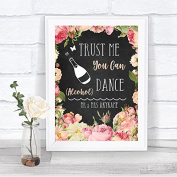 Chalkboard Style Pink Roses Alcohol Says You Can Dance Personalised Wedding Sign Print
