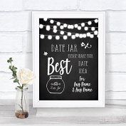 Chalk Style Black & White Lights Date Jar Guestbook Personalised Wedding Sign Print