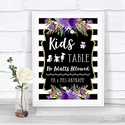 Small-A5-Black-amp-White-Stripes-Purple-Kids-Table-Personalised-Wedding-Sign